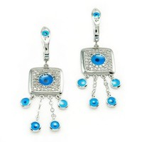 Sterling Silver Evil Eye Dangle Earrings