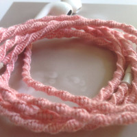 Pretty in Pink earbuds / Wrapped Tangle Free Medium-Light Pink