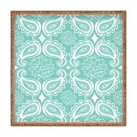 Heather Dutton Plush Paisley SeaSpray Square Tray