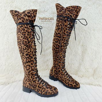 Leopard Nu-Buck Corset Lace Over the Knee Pirate Boot Travis 7-11