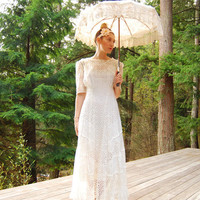 Antique Lace Parasol, Ivory Victorian Parasol, Bamboo Sterling Silver + Mother of Pearl White Wedding Umbrella, 1800's Edwardian Parasol