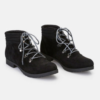 Faux Suede Boots With Contrast Laces | Wet Seal