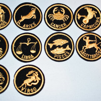 Astrology Zodiac Birth Signs Sew-On Vintage Patches - Beautiful Fancy Gold Threading on Black - Pick Your Preference -  f1