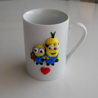Minion Friends Ceramic Cup / Mug Polymer Clay