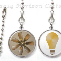 Ceiling Fan Pull and Light Pull - ONE or BOTH - Image of Fan and/or Light Bulb - DOUBLE Sided