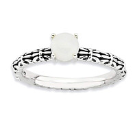 Sterling Silver Stackable Expressions AntiquedWhite Agate Ring