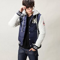 New Fashion Mens Baseball Padded Cotton Outerwear Hooded Winter Hat Jacket Coat