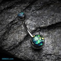 Opal Glitter Shower Basic Belly Button Ring