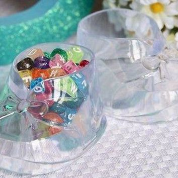 4 Clear Cute Baby Booties Booty Baby Shower Favor Decoration