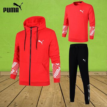 PUMA 2018 autumn and winter new casual sports men's cardigan set three-piece Red