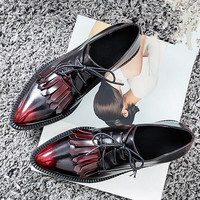 Tassel Pointed Toe British Style Lace-Up Oxford Shoes