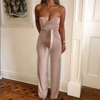 Sleeveless Elegant Jumpsuit 2016 New Fashion Bodycon Off the Shoulder Sexy Club Jumpsuits and Rompers for Women Overalls