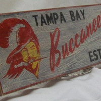 Tampa Bay Buccaneers wall sign, distressed