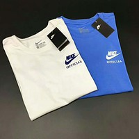 NIKE limited men and women couple behind the big LOGO loose round neck T-shirt F-A-KEN-CP