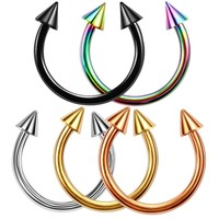 2pcs Colorful Stainless Steel Horseshoe Spike Nose Septum Rings Eyebrow Tragus Ear Rings Body Piercing Nariz Jewelry Piercing