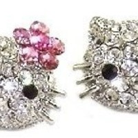 """Large 3/4"""" Silver Tone Kitty Stud Earrings with Dazzling Swarovski Crystals and Pink Flower Bow"""