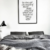 Here Sleeps A Girl With A Head Full Of Magical Dreams - Inspiring Print Decorative Black And White Typography Bedroom Accessories