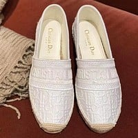 Bunchsun DIOR Popular Women Casual Canvas Flat Single Shoes Fisherman Shoes White