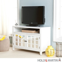 Holly & Martin 63-061-055-6-40 Carter White Mirrored TV/Media Stand