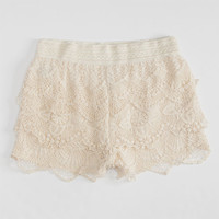 Full Tilt Crochet Tier Girls Shorts Cream  In Sizes