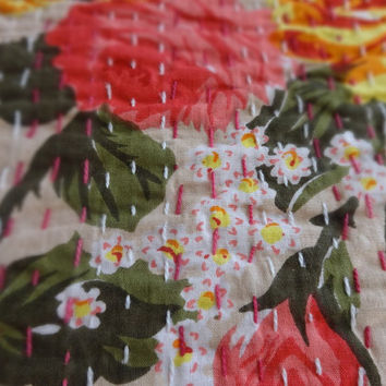 Handmade Kantha Quilt, Twin Size Reversible Bed cover, Beige Color Theme, Floral Print Kantha Bedding, Indian Cotton Bedspread, Home Decor
