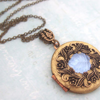ENCHANTED FOREST vintage blue glass leaf cab locket necklace