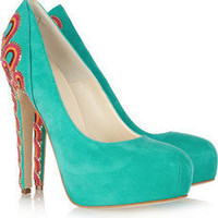 Brian Atwood Claudia embroidered suede pumps NET-A-PORTER.COM
