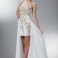 PRIMA C1404 High Neck Cap Sleeve Cocktail Dress with Long Sheer Skirt