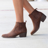 Very Volatile: Hattie Pull On Bootie {Distressed Brown}