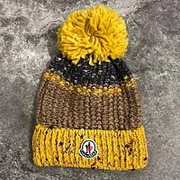 Moncler Winter Popular Women Men Warm Knit And Pom Hat Cap Yellow