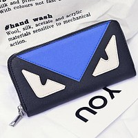 FENDI Clutch Bag Wristlet Women Men Leather Zipper Wallet Purse Blue