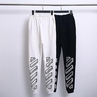 OFF-WHITE Tide brand autumn and winter models 3D thick line sketch printing thin section trousers