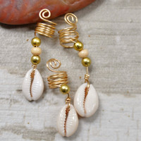 African Hair Jewelry,Natural Hair Jewelry,Dreadlock Jewelry, Hair Adornment, Cowrie Shell Jewelry, Loc Jewelry, African Jewelry