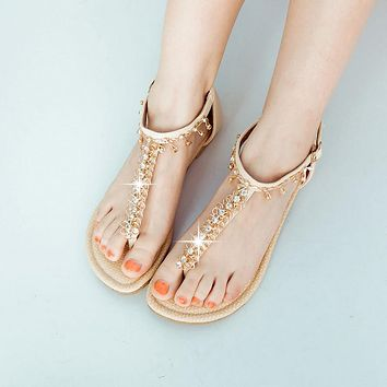 Fashion Chains Sandals Women Flats Shoes 3359