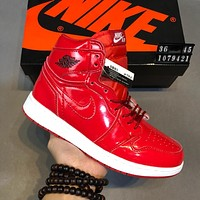 AIR JORDAN 1 Tide brand high men and women fashion versatile sports running shoes red