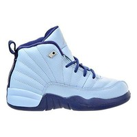 Air Jordan Retro 12 GP Girls Preschool Basketball Shoes Blue/Metallic Silver 510816-41