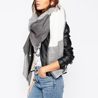ASOS   ASOS Oversized Square Scarf In Oversized Blown Up Check at ASOS