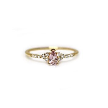 14kt Pink Morganite & Diamond Cinderella Slipper Ring