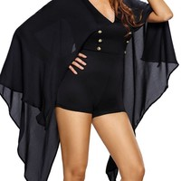 Casual Cape Sleeve Deep V-Neck Double Breasted Plain Romper