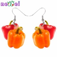 NEWEI Acrylic Cute Red Bell Pepper Earrings Big Long Dangle Drop Novelty Vegetable Jewelry For Women Girls Ladies Teens Gift
