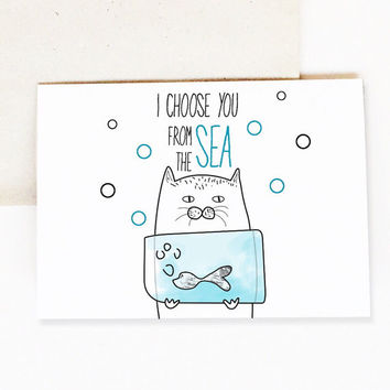 Cat Love Card - You Are My Little Fish - Anniversary Cards - Friendship Card - Love Cat - Paper - Greeting Cards - Card for Cat Lover