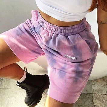 Summer New Fashion Women Print Tie-Dye High Waist Casual Elastic Shorts