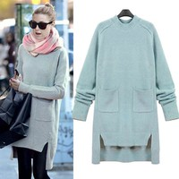 Asymmetric Collar Pure Color Pullover Split Pleat Sweater