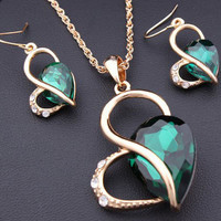 Twisted Tear Drop Necklace and Earrings
