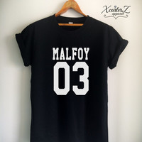 Draco MALFOY 03 Harry Potter Quidditch Print on Front or Back Side Unisex Women Men T-shirt White/Black/Grey/Red
