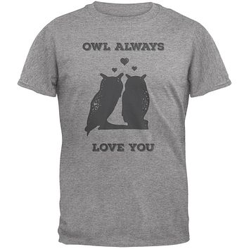 Valentine's Day - Paws - Owl Always Love You Heather Adult T-Shirt