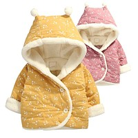 New infant baby girl winter coats thick warm hooded baby coat the stars printed clothes baby girls outerwear