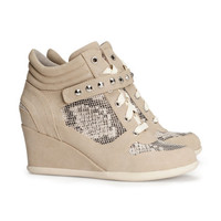 H&M - Wedge-heel Sneakers - Beige - Ladies