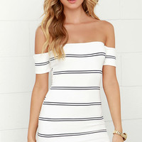 Paper Trail Navy Blue and Ivory Striped Off-the-Shoulder Dress