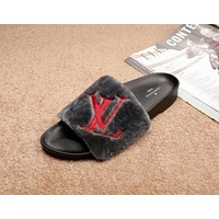 "Hot Sale ""Louis Vuitton"" LV New Popular Women Casual Fur Slipper Sandal Shoes(5-Color) Dark Grey I-ALS-XZ"